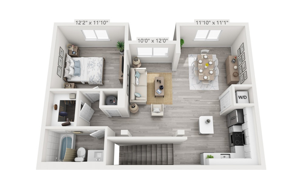 Albion - 1 bedroom floorplan layout with 1 bath and 805 square feet.