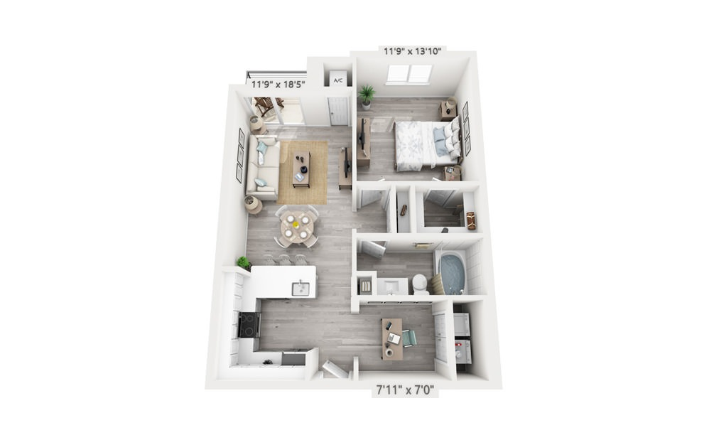 Aqua with Office - 1 bedroom floorplan layout with 1 bath and 809 square feet.