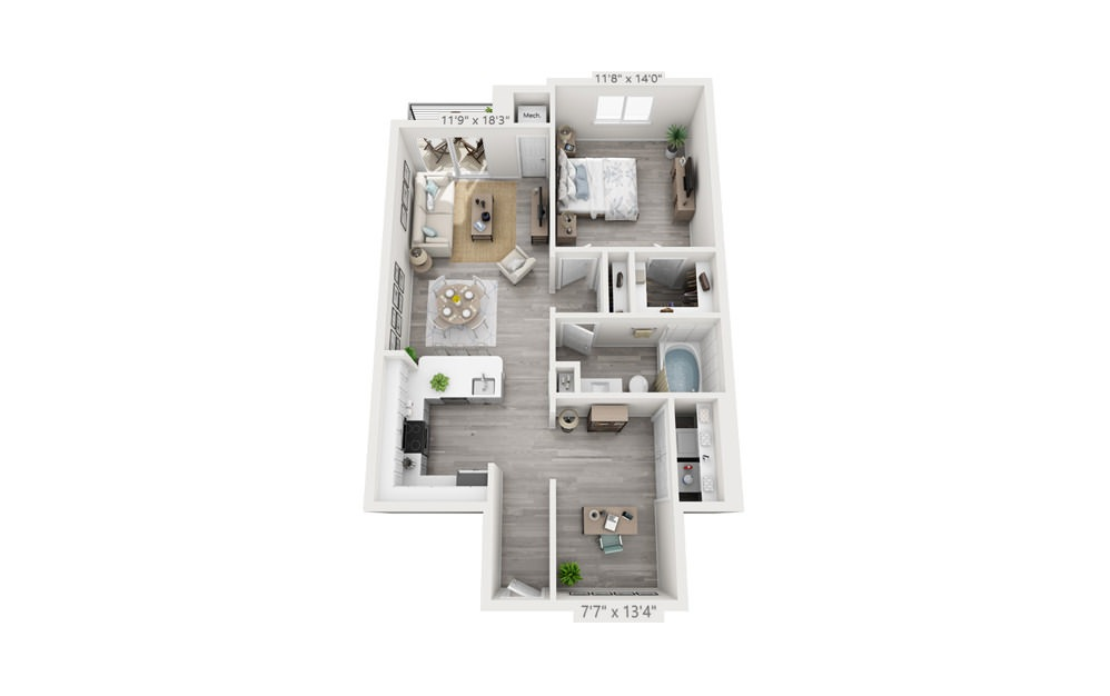 Astor with Office - 1 bedroom floorplan layout with 1 bath and 887 square feet.