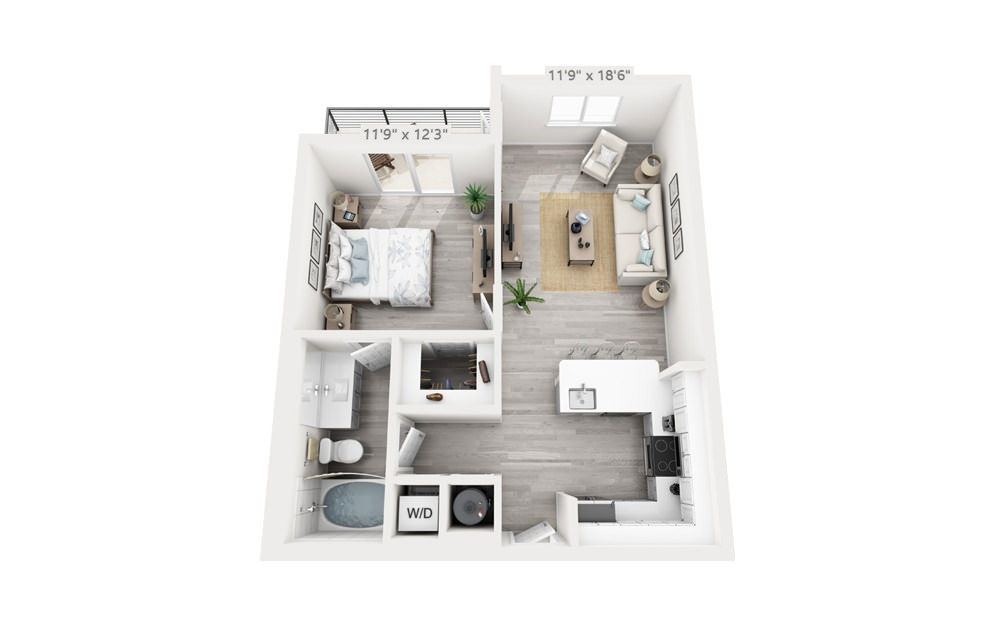 Avant - 1 bedroom floorplan layout with 1 bath and 691 square feet.