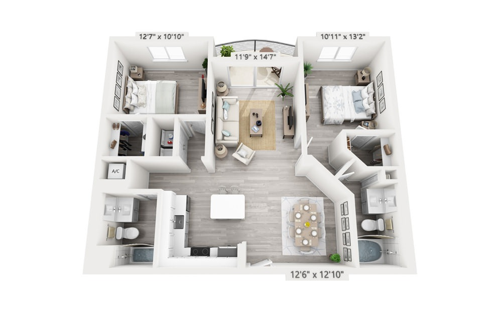 Catalina - 2 bedroom floorplan layout with 2 baths and 1151 square feet.