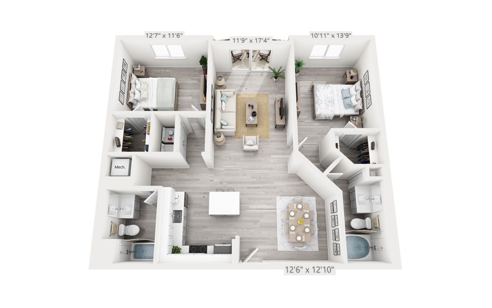 Chelsea - 2 bedroom floorplan layout with 2 baths and 1208 square feet.