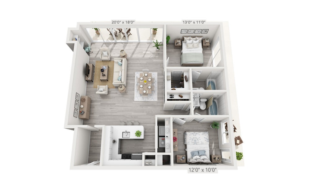 Clevelander - 2 bedroom floorplan layout with 2 baths and 1100 square feet.