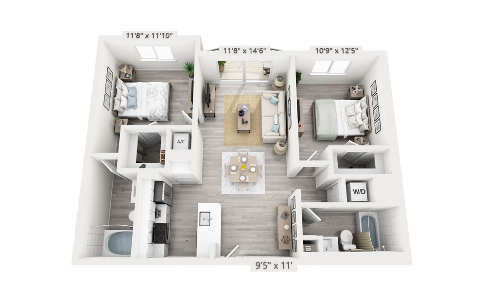 Colony - 2 bedroom floorplan layout with 2 baths and 993 square feet.