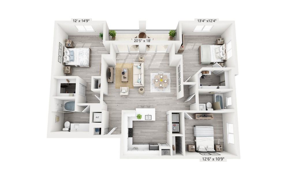 Majestic - 3 bedroom floorplan layout with 2 baths and 1501 square feet.