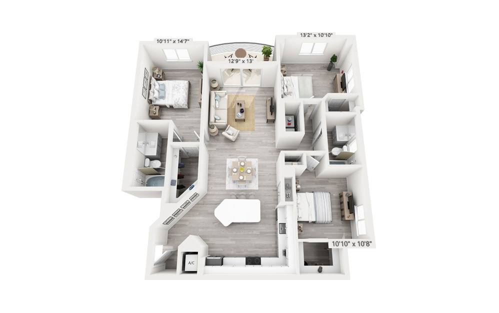 Mercury - 3 bedroom floorplan layout with 2 baths and 1451 square feet.