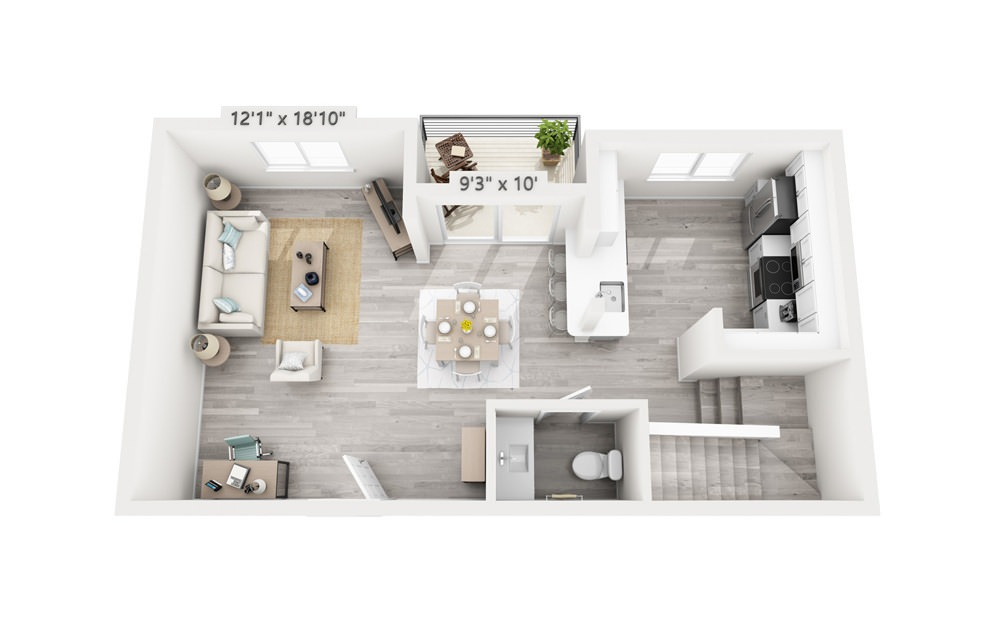 Savoy - 2 bedroom floorplan layout with 2.5 baths and 1518 square feet. (Floor 1)