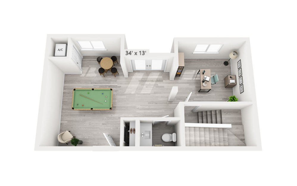 Soliel - 2 bedroom floorplan layout with 2.5 baths and 2110 square feet. (Floor 1)